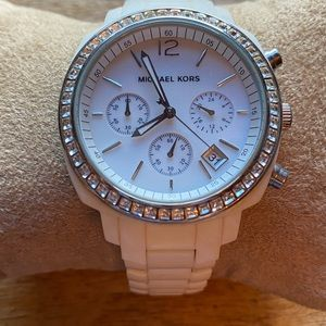 MK White Crystal Ceramic Watch
